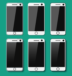 Set of detailed phones with shadows vector