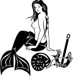 Nude sitting mermaid black stencil vector