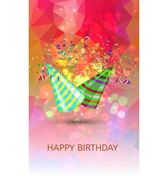 Happy birthday hats and confetti surprise vector