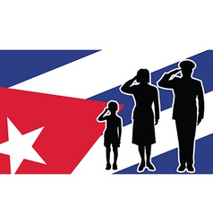 Cuba soldier family salute vector