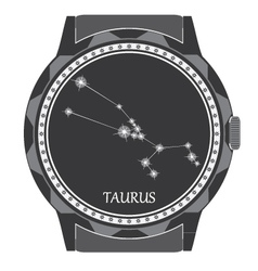 The watch dial with the zodiac sign taurus vector