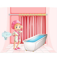 A young lady taking a bath in the bathroom vector