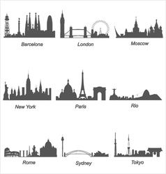 Famous cities silhouettes vector