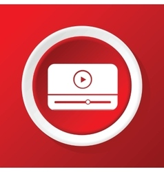 Mediaplayer icon on red vector