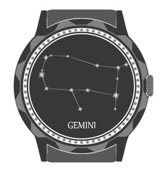 The watch dial with the zodiac sign gemini vector