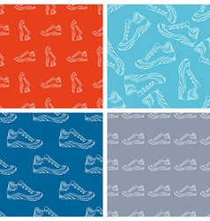 Set of seamless shoes patterns vector