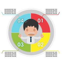 Man info graphic plan circle colorful vector