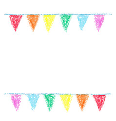 Wax crayon party bunting isolated on white vector