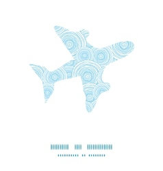 Doodle circle water texture airplane silhouette vector
