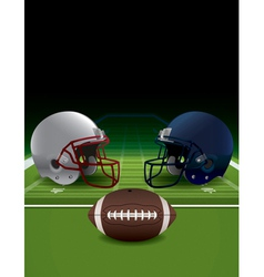 American football helmets ball and field vector
