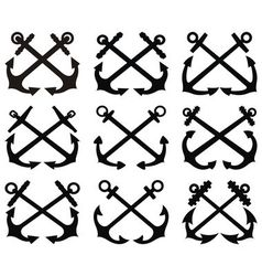 Crossed anchor silhouettes set vector