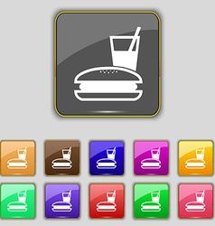 Lunch box icon sign set with eleven colored vector
