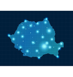Pixel romania map with spot lights vector