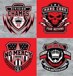 Sports shield emblem graphic set vector