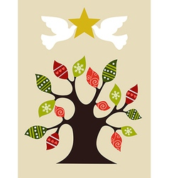 Peace and love christmas tree design idea vector
