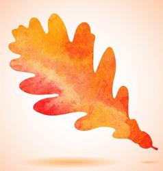 Orange watercolor painted autumn oak leaf vector