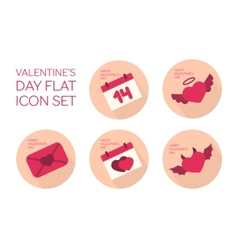Valentines day flat icon set vector