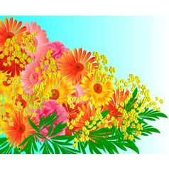 Festive bouquet of gerberas and roses vector