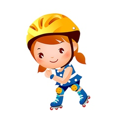 Girl on rollerblades vector