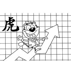 Tiger stock market cartoon vector