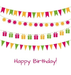 Birthday greeting card with garlands vector