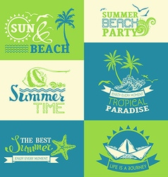 Set of summer and travel labels and symbols vector
