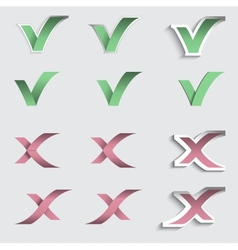 Tick and cross check mark stickers vector