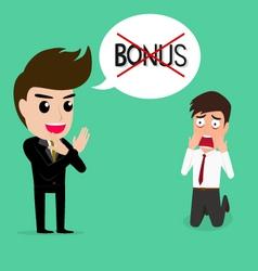 Business man shocked he does not get bonus vector