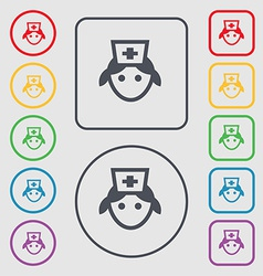 Nurse icon sign symbol on the round and square vector