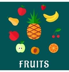 Fresh tropical and garden flat fruits set vector
