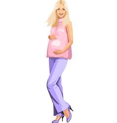 Pregnant blonde girl in pink vector