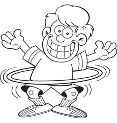 Cartoon boy using a hula hoop vector