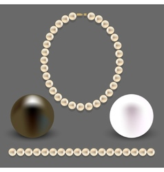 A collection of objects made of pearls on gray vector