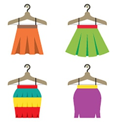 Colorful women skirts with hangers vector
