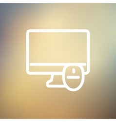 Monitor and computer mouse thin line icon vector