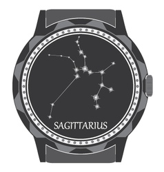 The watch dial with the zodiac sign sagittarius vector