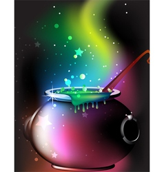 Magic cauldron with a potion vector