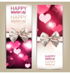 Beautiful greeting cards with white bows and copy vector