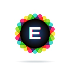 Retro bright colors logotype letter e vector