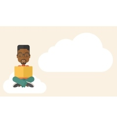 Black guy reading a book vector