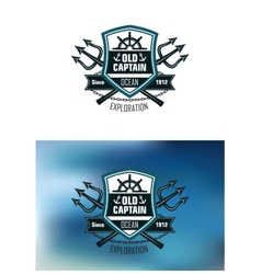Nautical badges for ocean exploration vector