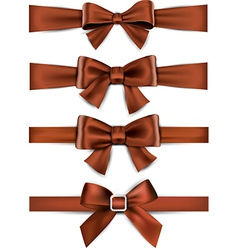 Satin brown ribbons gift bows vector