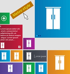 Cupboard icon sign metro style buttons modern vector