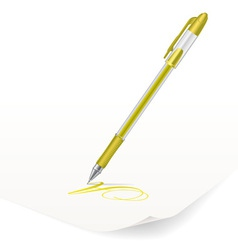 Yellow ballpoint pen vector