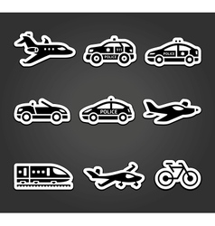 Set of sticky stickers transport pictograms vector