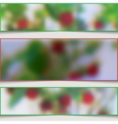 Set of abstract banners with blurry strawberries vector