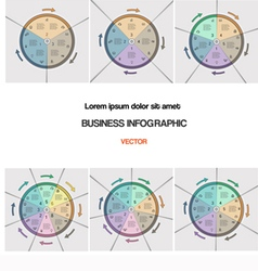 Set pie chart template with text areas vector
