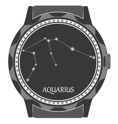 The watch dial with the zodiac sign aquarius vector