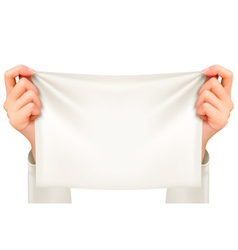 Hands holding a piece of cloth - banner vector