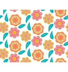 Seamless spring flower pattern on white background vector